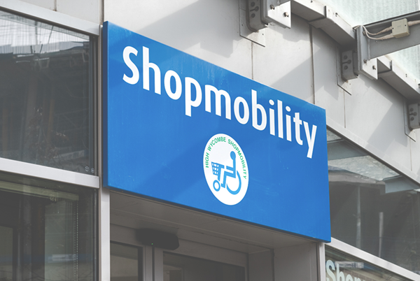 Shopmobility sign High Wycombe